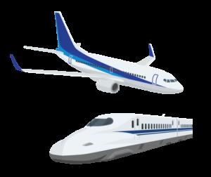 飛行機と新幹線のイラスト